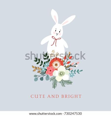 traditional christmas new year greeting card invitation hand drawn illustration of cute rabbit