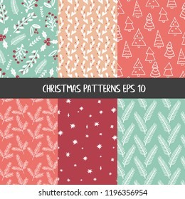 Traditional Christmas and New Year patterns set in green, red and white colours with florals, berries, holly, mistletoe, christmas trees and flowers in doodle style.