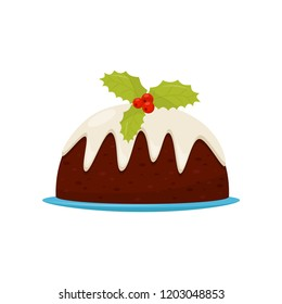 Traditional Christmas pudding with cream and red berries with green leaves. Delicious holiday dessert. Flat vector design