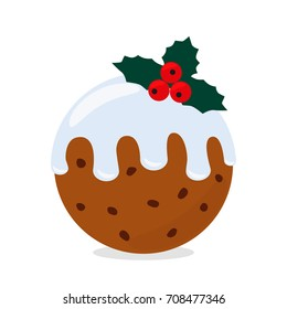 Traditional Christmas Pudding. flat vector illustration isolate on a white background.