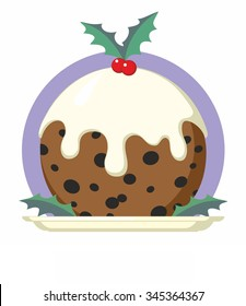 Traditional Christmas Pudding with Holly on Plate - cartoon