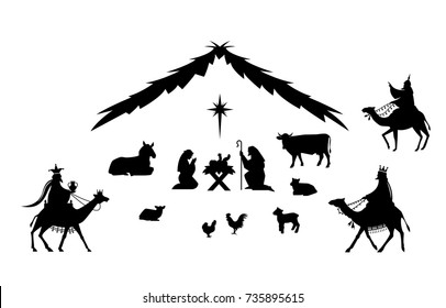 Traditional Christmas scene. Vector background with nativity scene. Baby jesus born in bethlehem.