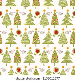 Traditional Christmas Trees Doodle Vector Pattern Repeat Seamless, Hand Drawn  Peace Dove Yuletide Fir Illustration for Home Decor, Stationery, Xmas Decoration, Gift Wrap & Seasonal Web Backgrounds