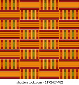 Traditional Cloth Kente. African print. Tribal seamless pattern. Geometric fabric design.