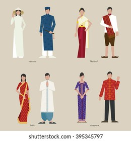 traditional clothing Vietnam India Singapore Thailand