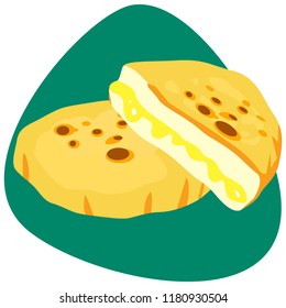 Traditional Colombian Arepa with cheese on green background. Full and broken pieces.