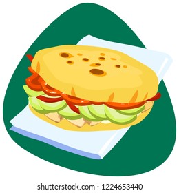 Traditional Colombian Arepa with chicken meat, avocado, tomatoes on clean napkin and green background