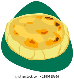 Traditional Colombian Arepa on green background
