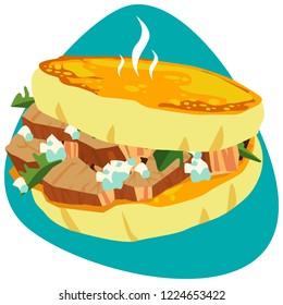Traditional Colombian tosted Arepa with carnitas pork meat, cotija cheese and parsley on blue background