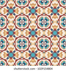 Traditional color ornate portuguese decorative tiles azulejos. Abstract background. Vector hand drawn illustration, typical portuguese tiles, Ceramic tiles. Seamless pattern.