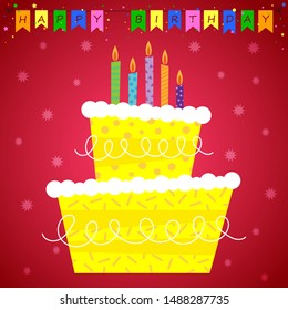 Traditional and colorful birthday celebration greetings card