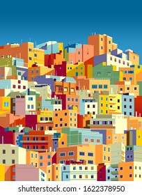 Traditional colorful houses in one of the areas of Las Palmas, Gran Canaria, Canary Islands. Handmade drawing vector illustration.