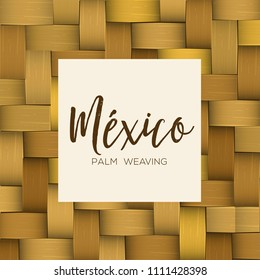 Traditional Colorful Mexican Vectorized Palm Weaving Composition – Copy Space