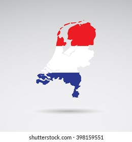 Traditional colors and flag of Netherlands, Holland. Vector art.