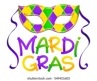 Traditional colors vector carnival mask with hand drawn Mardi Gras lettering isolated on white background
