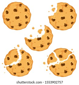 Traditional cookies with chocolate crisps. Bitten, broken, cookie crumbs. Vector illustration in cartoon flat style.