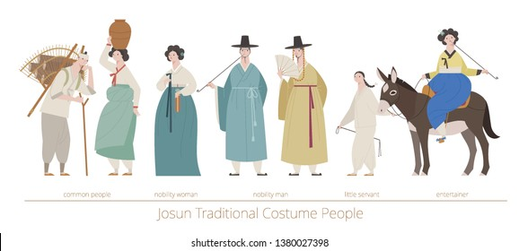 The traditional costume character of Jo-sun, which was an ancient country of Korea. flat design style minimal vector illustration