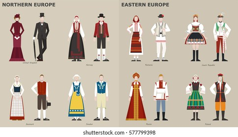 Traditional Costumes by Country people character vector illustration flat design