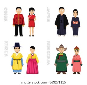 Traditional Costumes Cartoon Vector Illustration