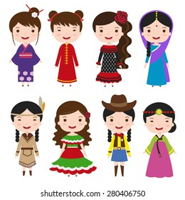 traditional costumes character of the world, dress girls in different national costumes