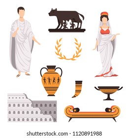 Traditional cultural symbols of ancient Rome set vector Illustrations on a white background