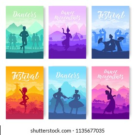 Traditional dances from all over the world brochure cards set. Cultural Dancer Styles template of flyear, magazines, poster, books, invitation banners. Travel festival layout modern