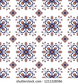 Traditional decorative color  portuguese seamless vector pattern. The tile is azulejo. Geometric patterns and backgrounds for your design. Vector illustration.