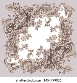 traditional decorative paisley ornamental frame. paisley print for shawl and textile design