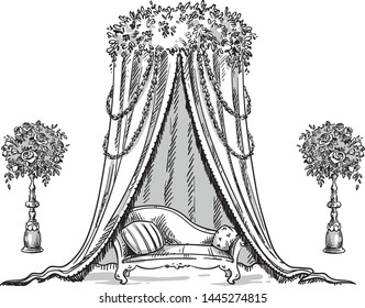 Traditional decorative tent for a party or wedding, indian style, vector illustration