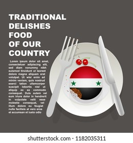 Traditional delicious food of Syria country poster. Asian national dessert. Vector illustration cake with national flag of Syria  on gray background