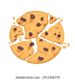 Traditional delicious pastries with chocolate pieces. Broken cookies. Vector illustration in cartoon flat style.