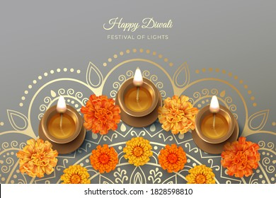 Traditional Diwali festival background with burning diya lamp and marigold flowers. 3D vector illustration
