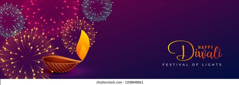 traditional diwali fireworks and diya design