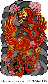 Traditional dragon battle with Phoenix for tattoo design.Chinese dragon for painting on wallpaper background.Hand drawn Japanese tattoo design with flower and wave for printing on jacket.Peony flower.
