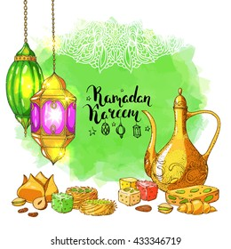 Traditional eastern halal food. Vector watercolor background. Islamic bakery and teapot. Arabic lanterns. Greeting Ramadan card. Lace ornament. Sweets.