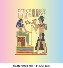 traditional egyptian princess and faraon