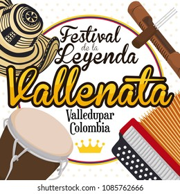 Traditional elements of the Colombian Vallenato Legend Festival (written in Spanish): accordion, caja vallenata drum, guacharaca, fork and sombrero vueltiao -or turned hat- over tricolor round label.