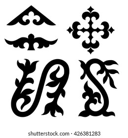 Traditional elements of Kyrgyzstan, Kazakhstan for your design. Silhouette objects.