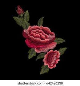 Traditional embroidery, flower, rose, trend, vector