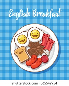 Traditional English Breakfast. Characters vector