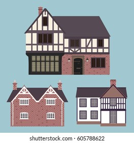 Traditional English cottages. Vector illustration.