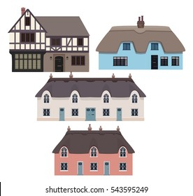 Traditional English houses and thatched cottages. Vector illustration.