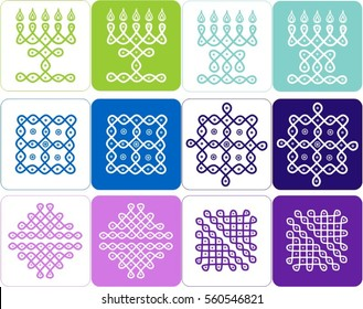 Traditional Ethnic Indian ornament in cool colors, Kolam Rangoli icons in white and colored backgrounds