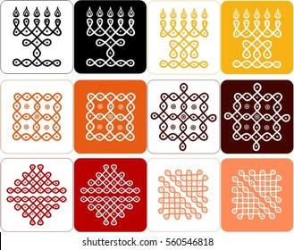 Traditional Ethnic Indian ornament in warm colors, Kolam Rangoli icons  in white and colored backgrounds