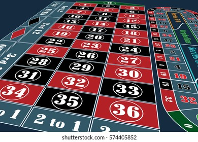 Traditional European Roulette Table perspective vector illustration
