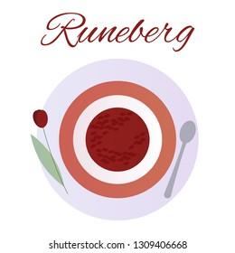 Traditional Finnish pastries. Cake Runeberg. Pie. Runeberg Torte. Raspberry jam Flower setting