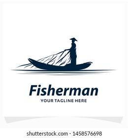 Traditional Fisherman Logo Design Template