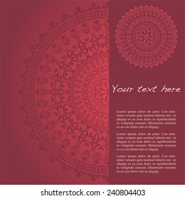 Traditional floral oriental mandala design red background with vertical banner for text