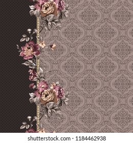 traditional floral pattern. ornamental flowers and peonys. traditional; textile design