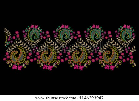 Traditional Flower Embroidery Patterns Stock Vector Royalty Free